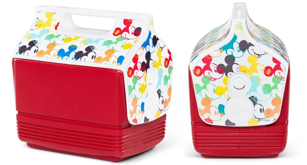 red igloo playmate cooler with multi colored mickey mouse heads all over the lid