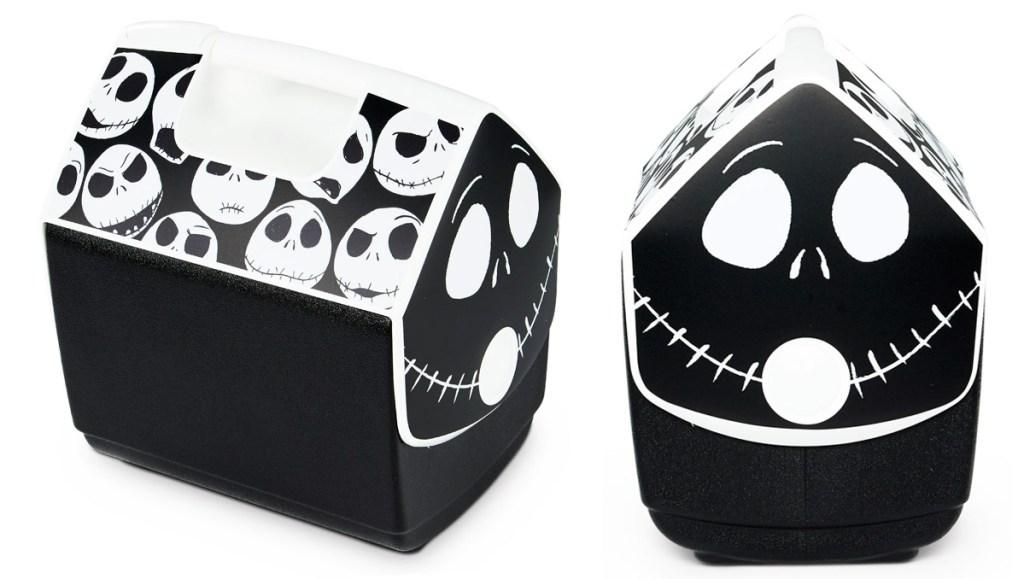 black igloo playmate cooler with jack skellington print all over the lid