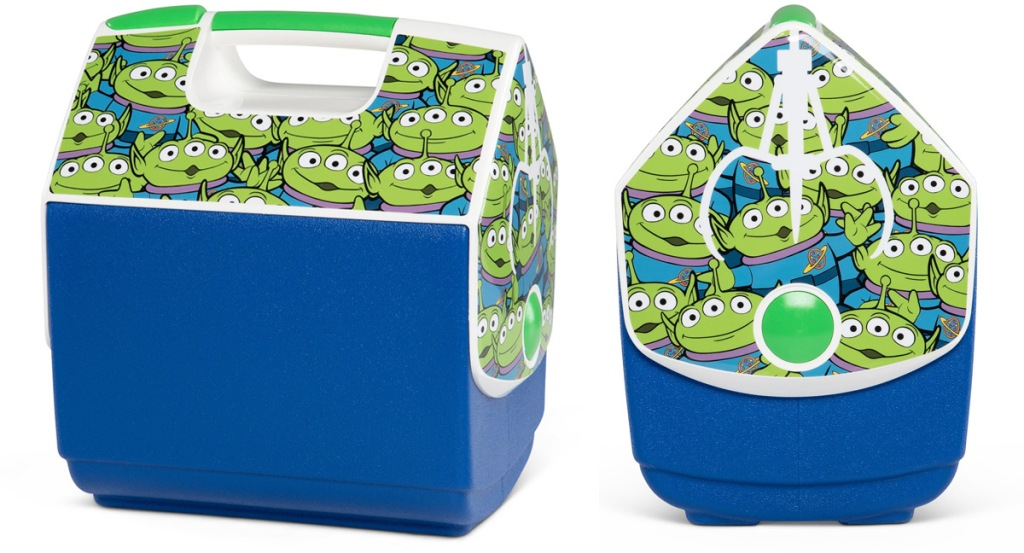 blue igloo playmate cooler with toy story aliens printed all over the lid