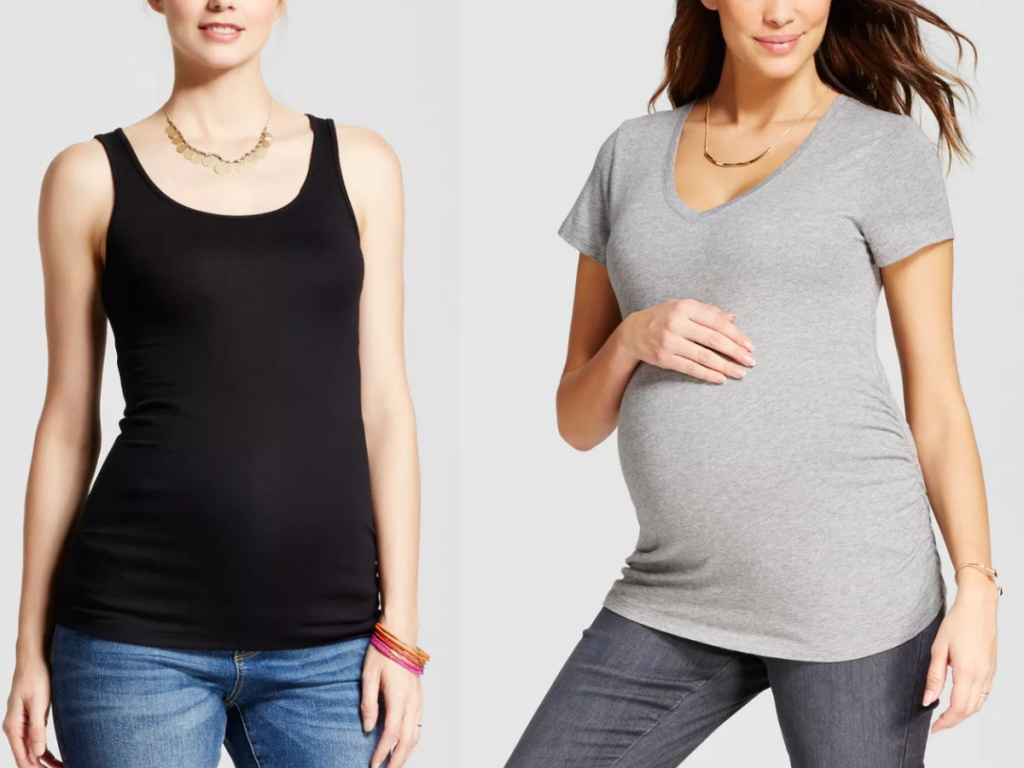 2 women standing next to each other wearing Isabel by Ingrid & Isabel maternity tops