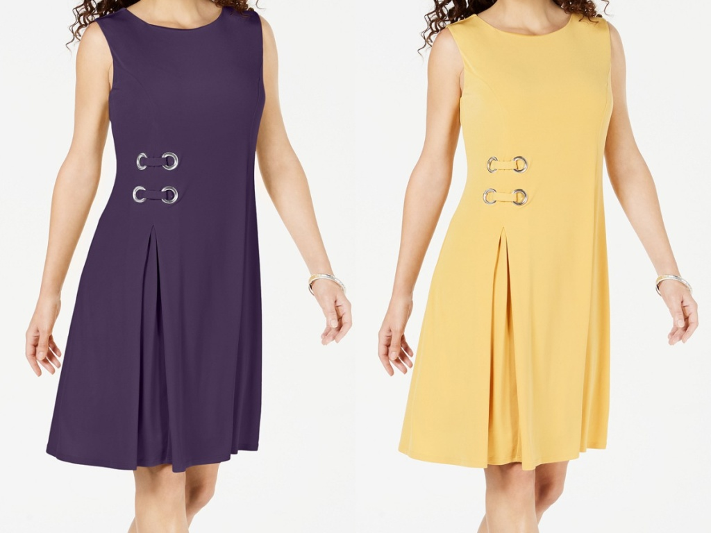 woman in purple grommet dress and woman in yellow grommet dress