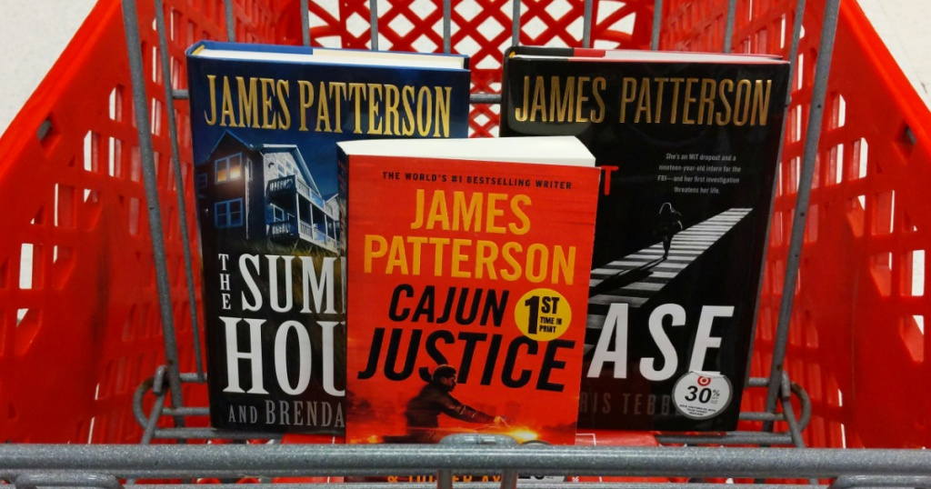 three books in red store cart
