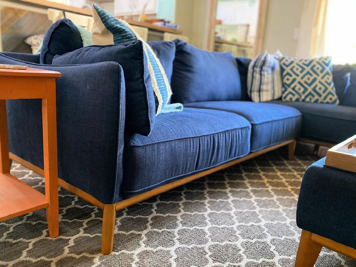 blue Jollene 2-Piece Sectional Sofa with pillows