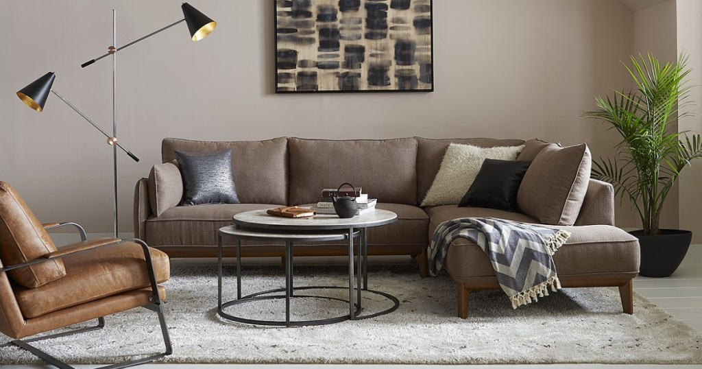 """living room with Jollene 113"""" 2-Piece Sectional"""