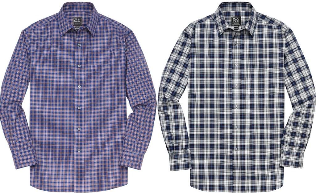 men's blue button up shirt and men's dark blue plaid button up shirt