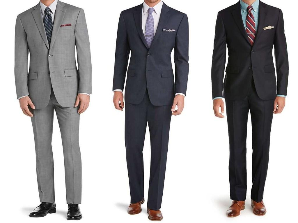 man in gray suit, man in blue suit, man in black suit