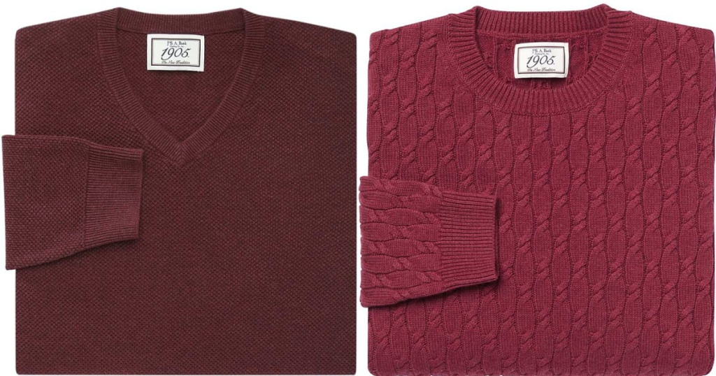 men's maroon sweater and men's pink sweater
