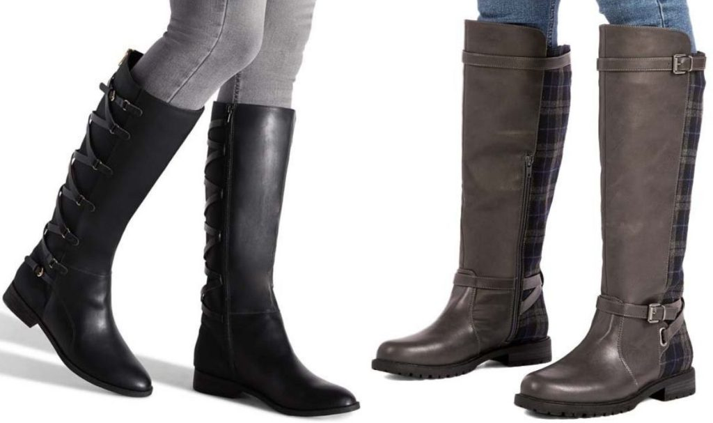 Two women wearing tall boots