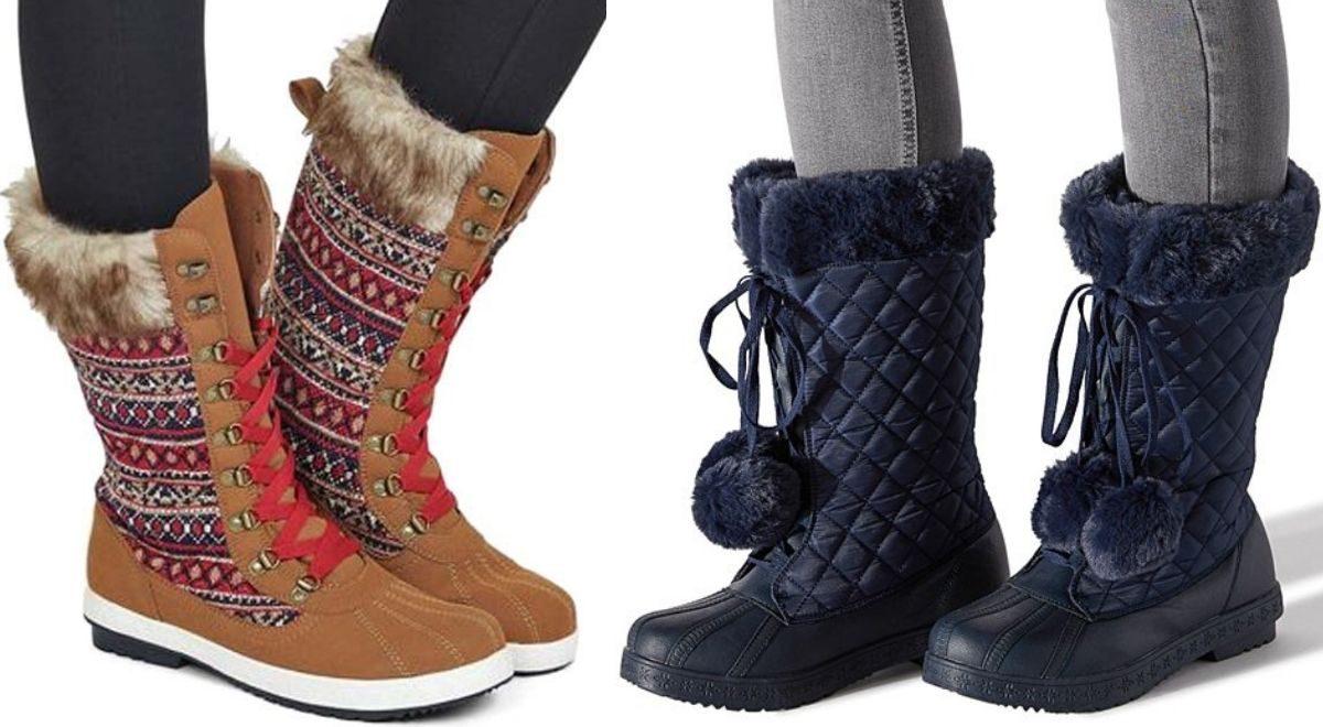 Two women wearing warm winter boots