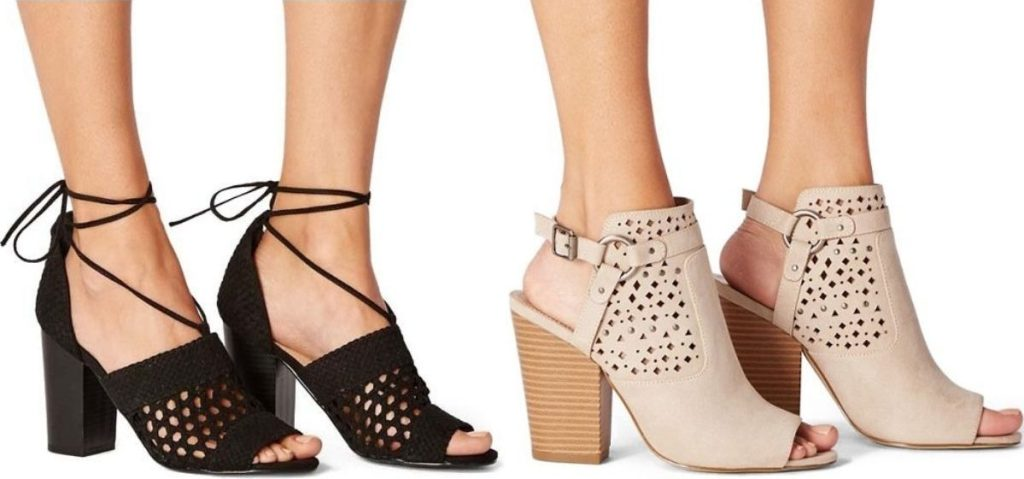 Two Women wearing open toe bootie heels