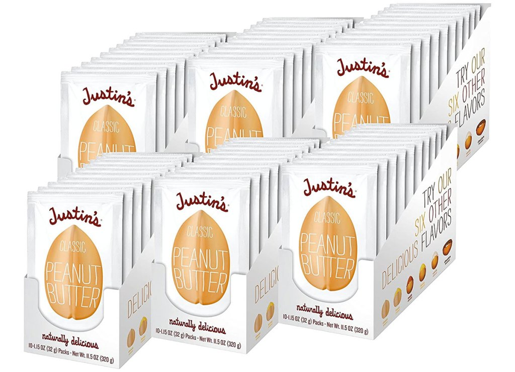 60 individual packets of justin's classic peanut butter