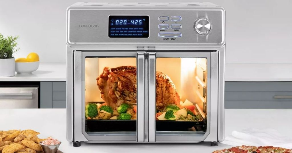 air fryer oven with a chicken inside