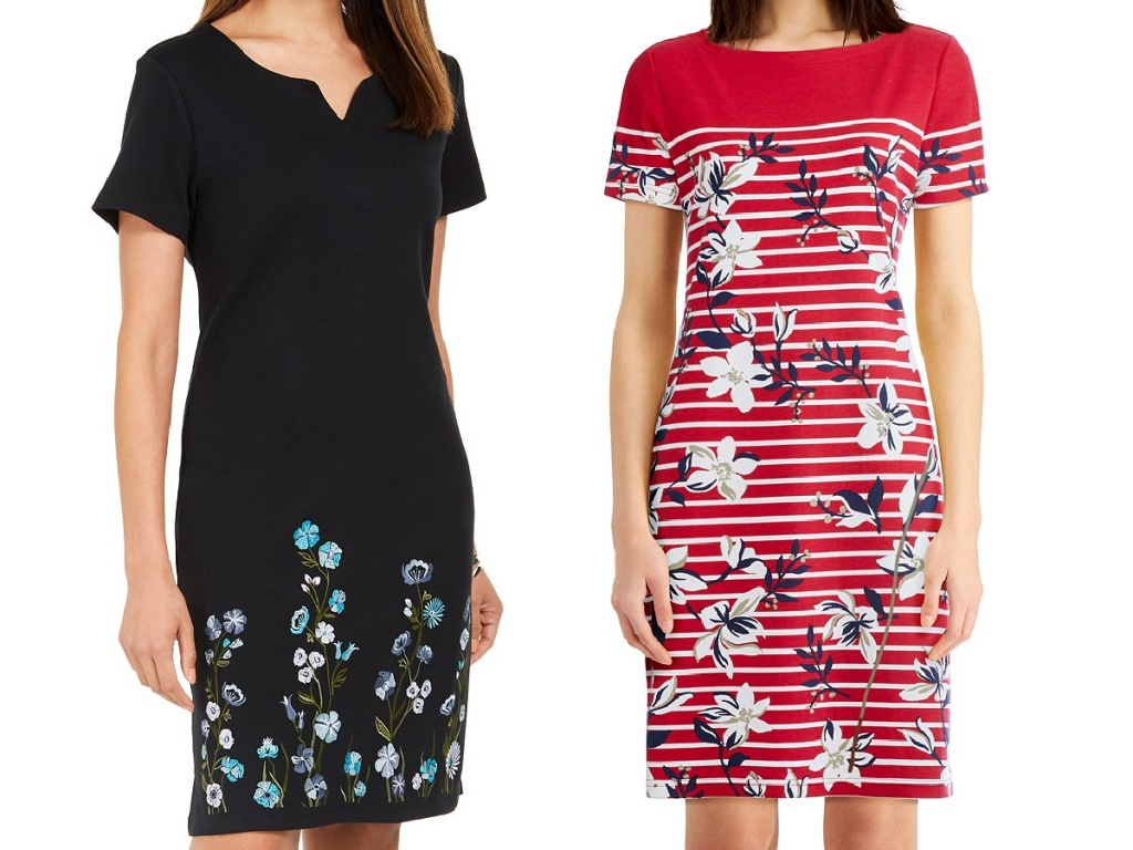 woman in black dress with blue floral print at bottom and woman in red and white floral dress with stripes