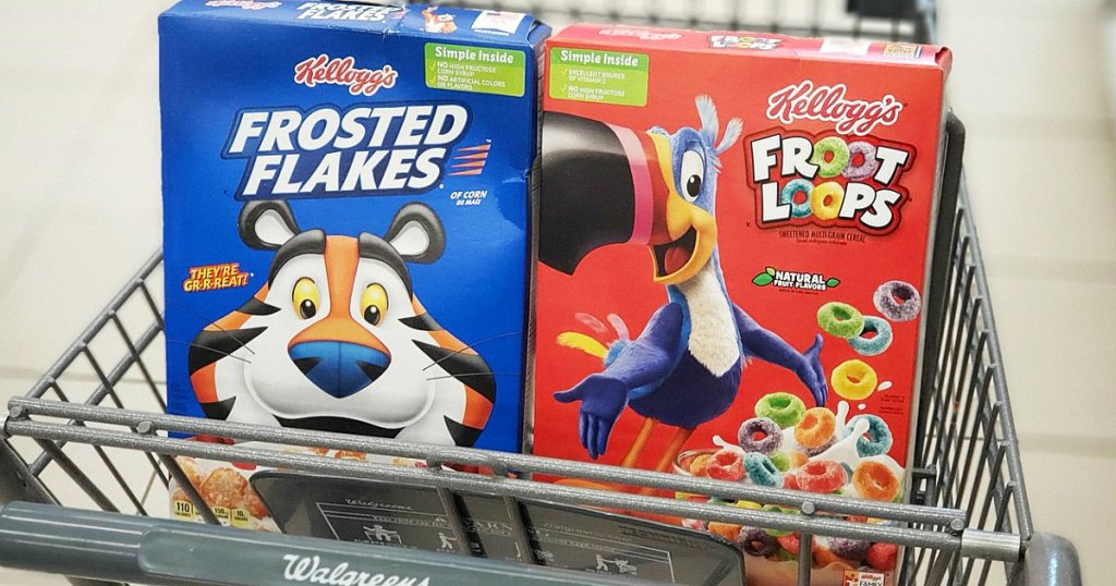 boxes of kellogg's frosted flakes and froot loops cereals in walgreens shopping cart