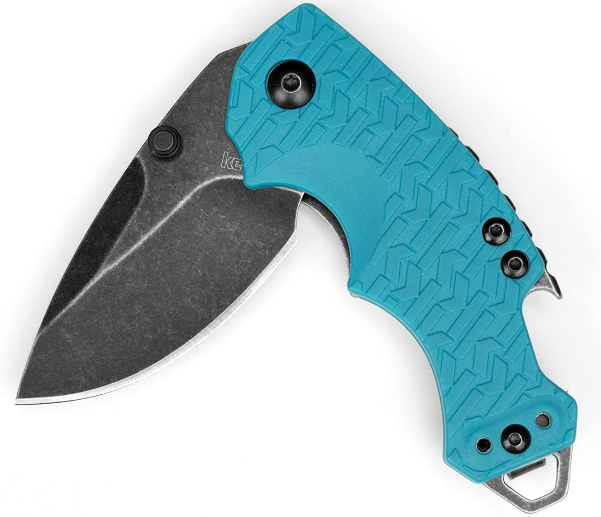 Teal colored pocket knife partially open