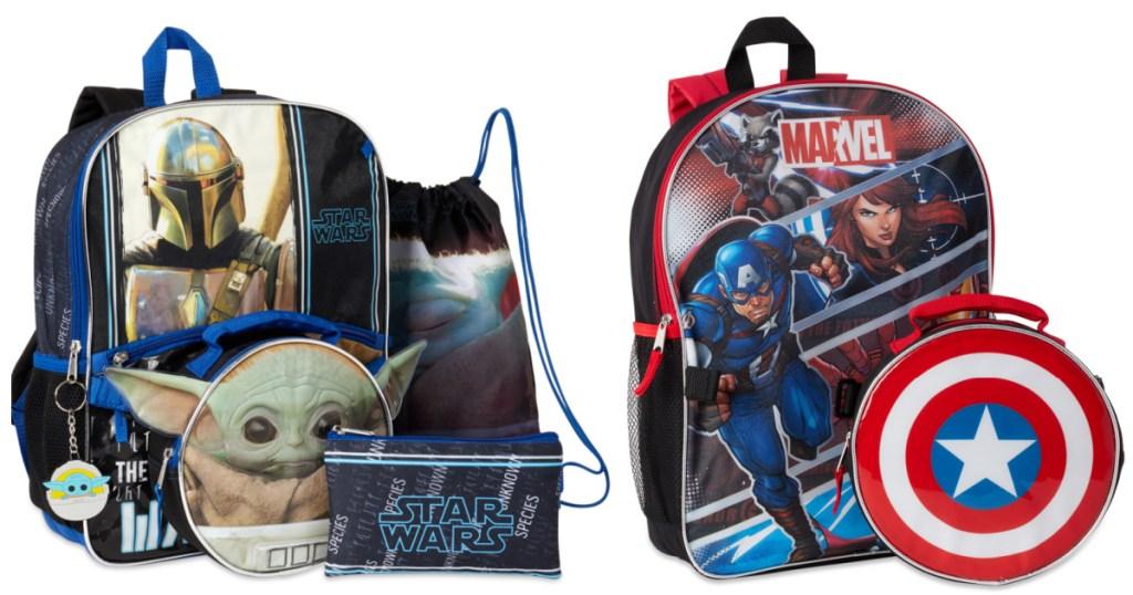 Baby Yoda Backpack Set and Marvel Captain America Backpack Set