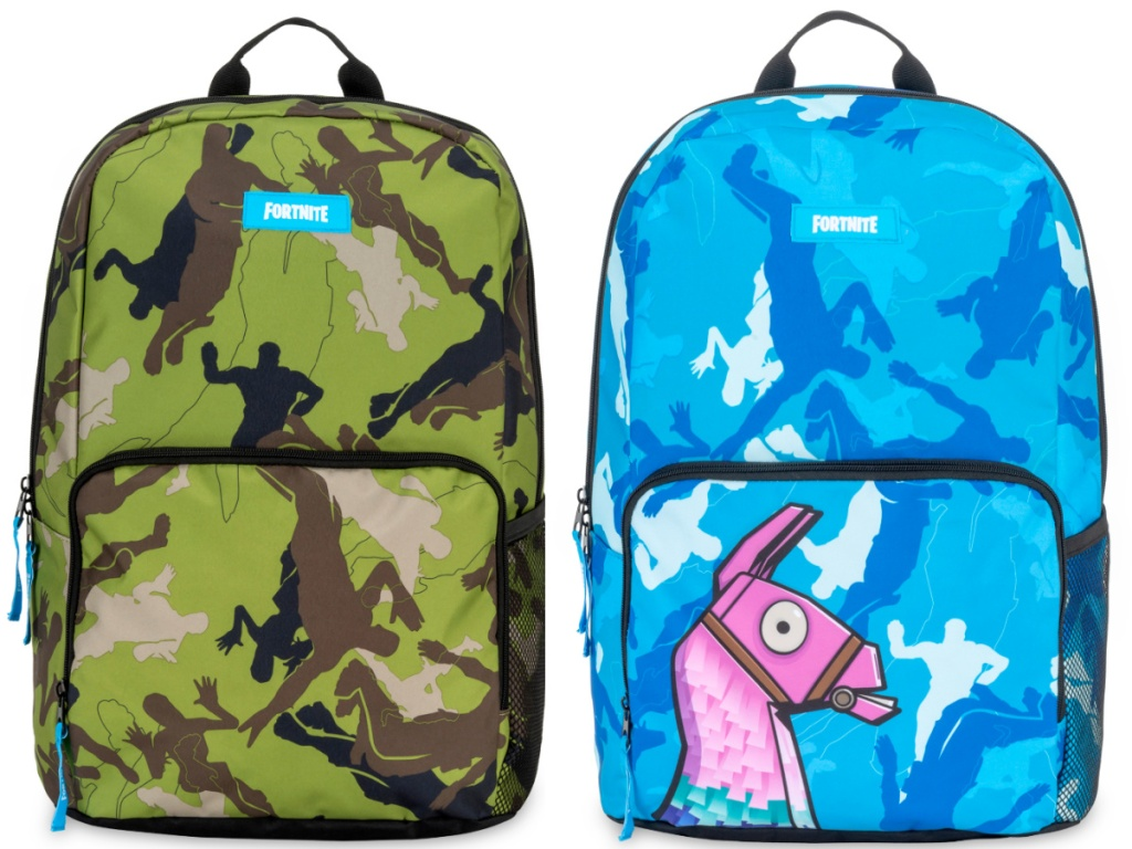 2 fortnite backpacks sitting next to each other