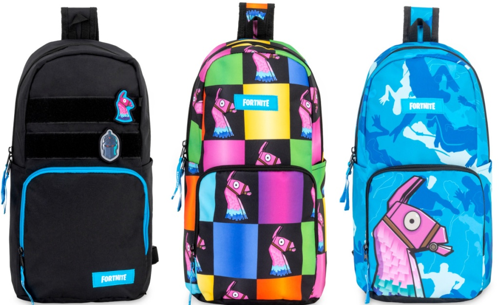 3 fortnite sling bags lined up next to each other