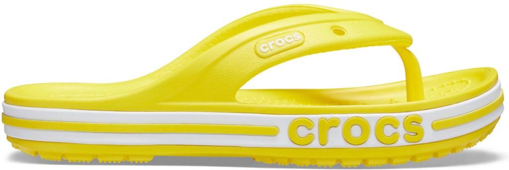 yellow crocs flips