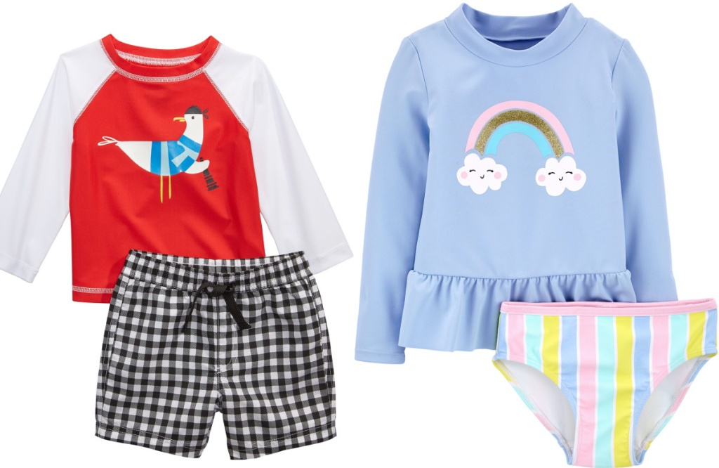 baby boys rash guard and swim trunks and toddler girls rash guard and swim bottoms