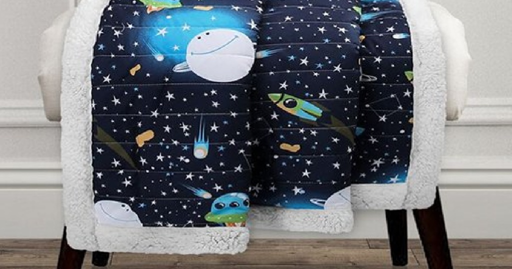 kids fuzzy sherpa throw with outer space scene and planets