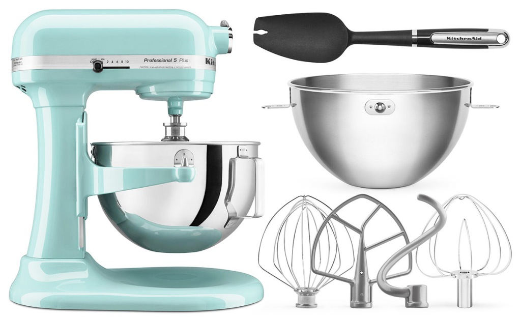 aqua colored KitchenAid lift-bowl stand mixer with two bowls, four mixing attachments, and a spatula