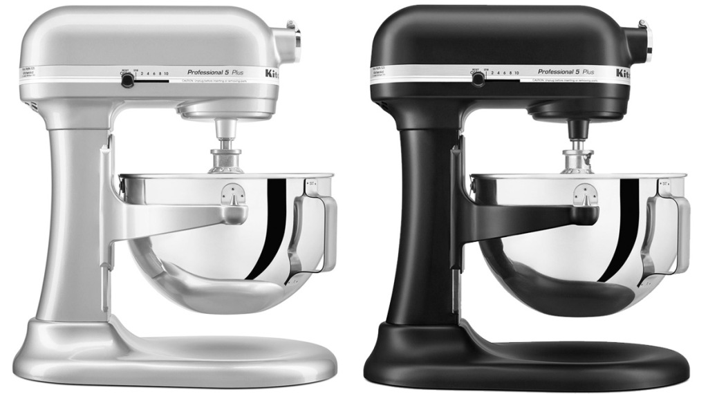two KitchenAid lift-bowl stand mixers in silver and black