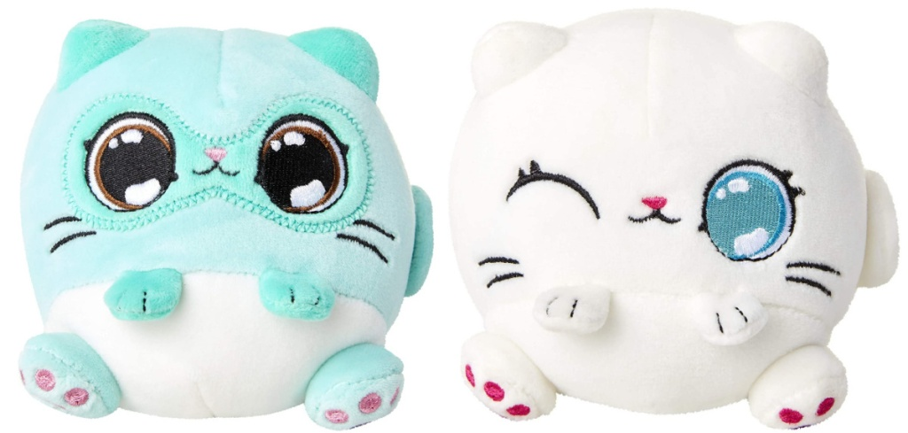 mint colored light kitten plush and white colored kitten plush