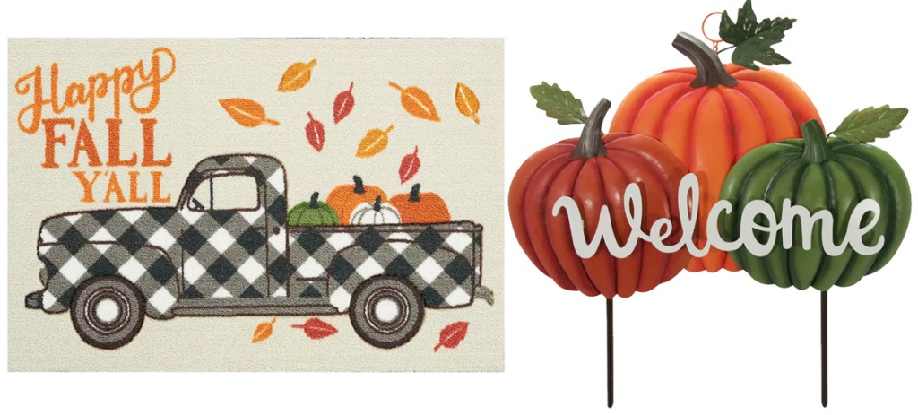 happy fall y'all doormat and pumpkin yard sign that says welcome