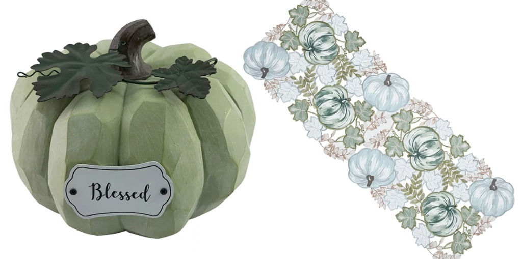sage green pumpkin decor and white and green pumpkin table runner