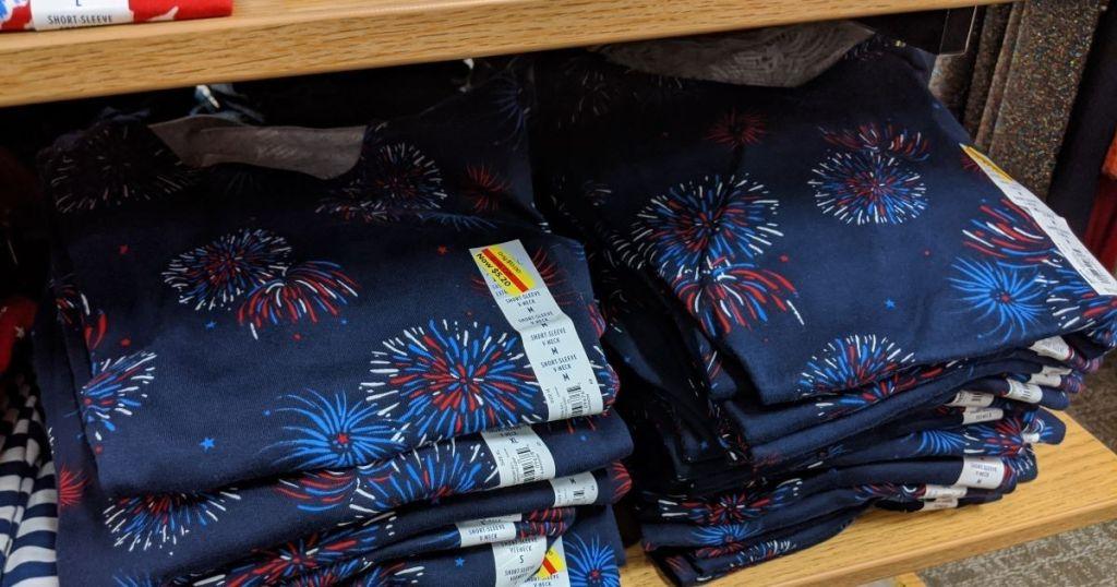 shelf of cotton short sleeved t-shirts at Kohl's