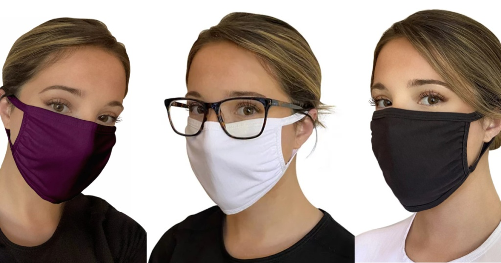 3 women wearing colorful reusable face masks