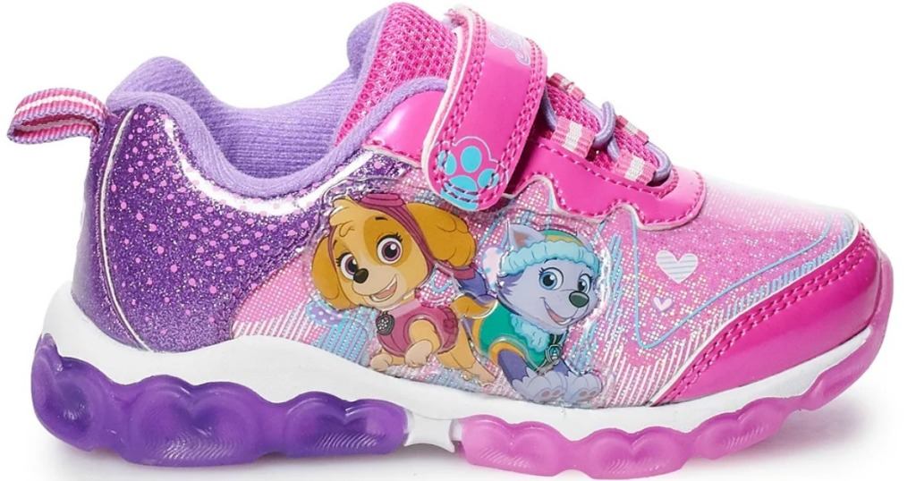 Light Pink and Purple light up toddler girls shoe with Paw Patrol Characters