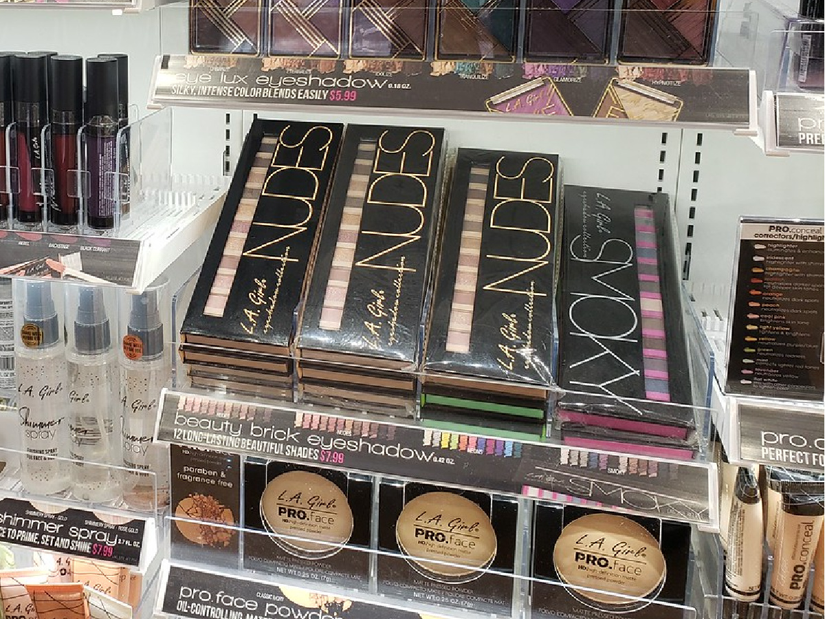 various makeup products on display in store