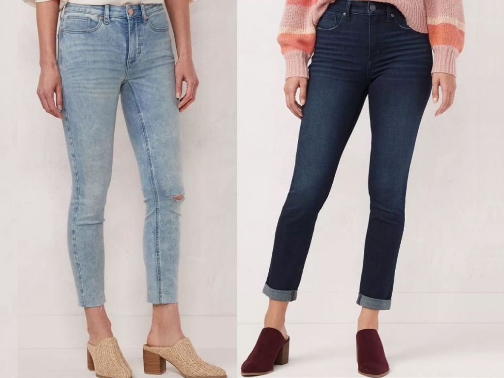 Lauren Conrad Skinny Ankle Jeans with High waist worn by two women