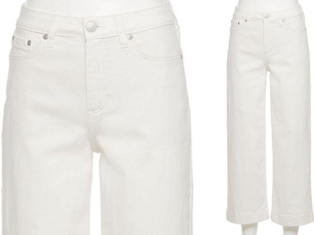 Lauren Conrad White Wide Leg Ankle Jeans