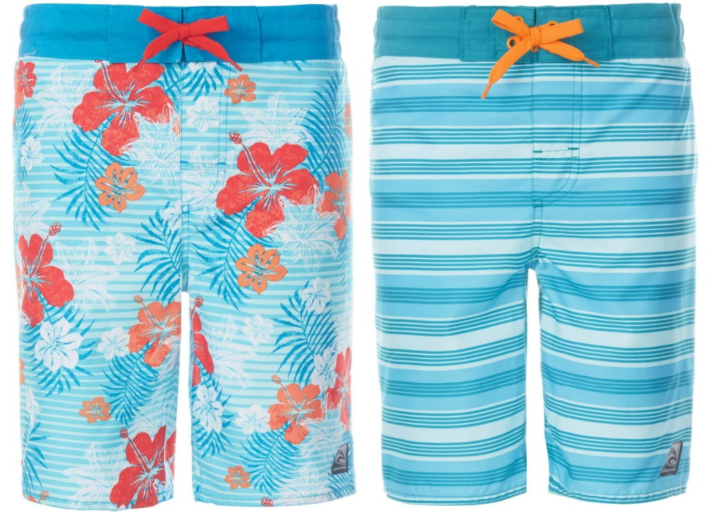 boys blue floral print swim trunks and boys blue striped swim trunks