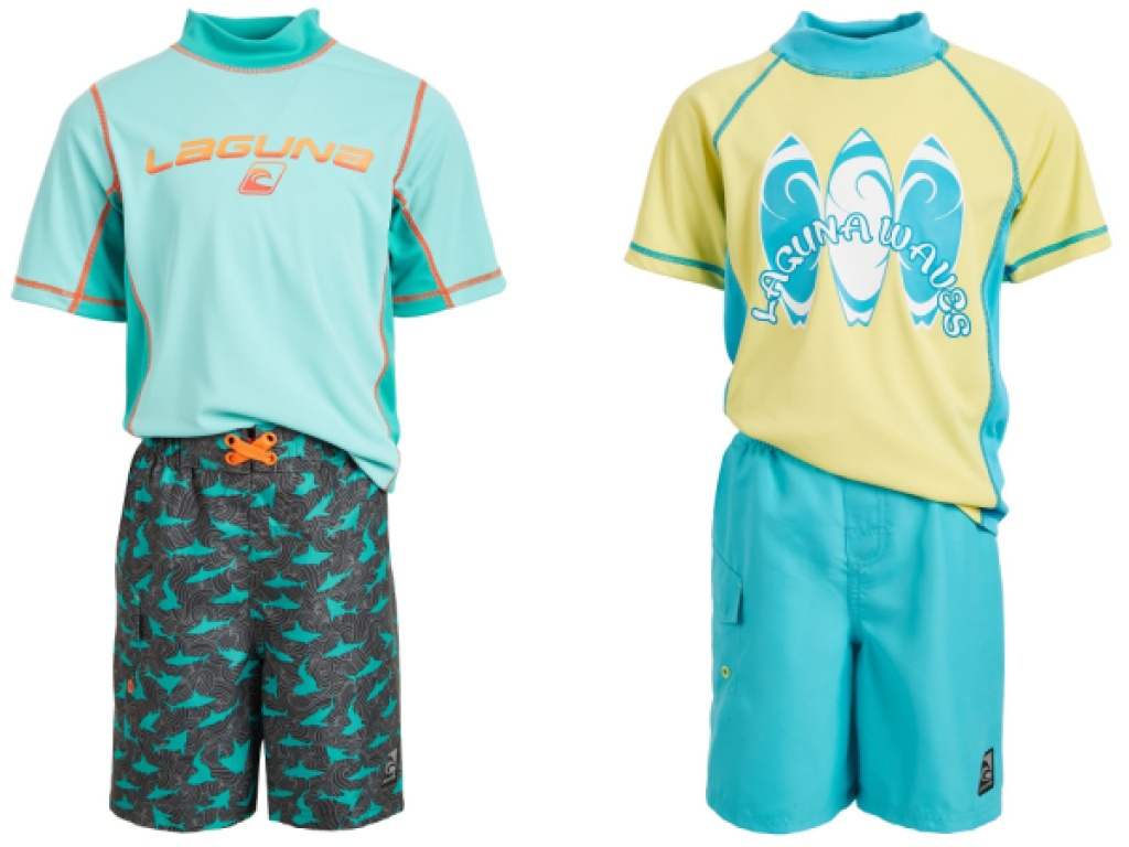 two laguna swim wear sets in blue and yellow