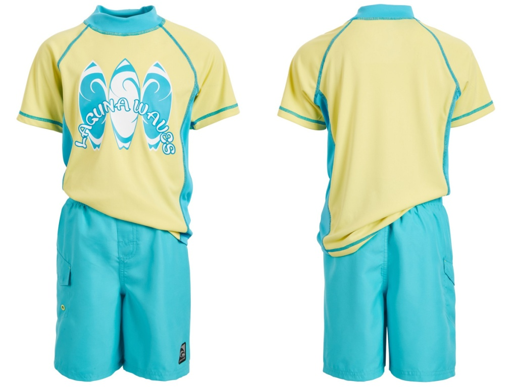 boys blue and yellow rash guard set