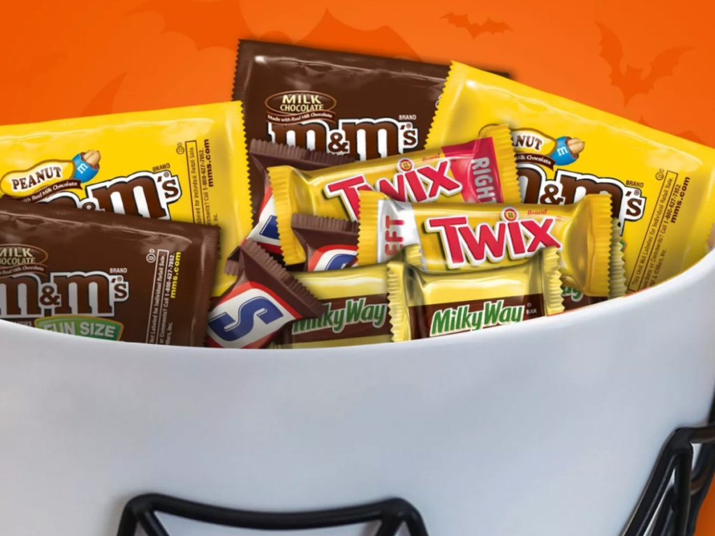 large bowl of chocolate mars halloween candy