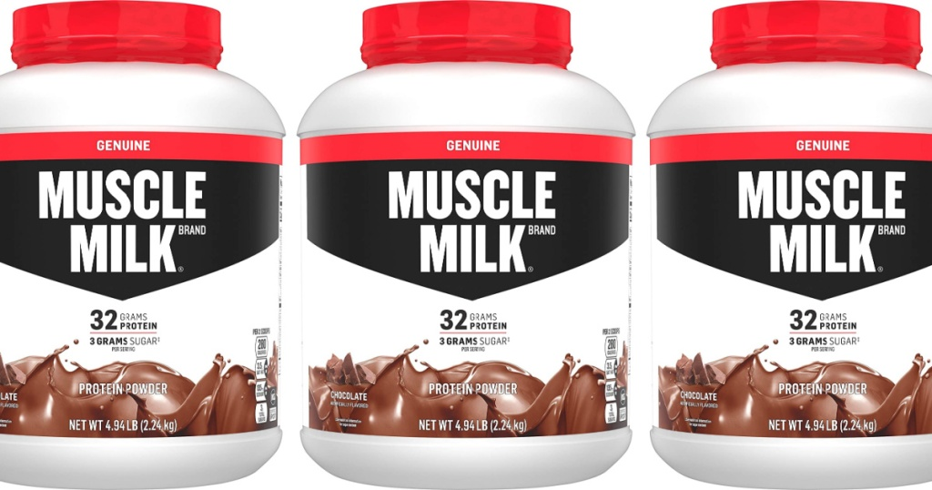 3 large containers of chocolate muscle milk protein powder jugs