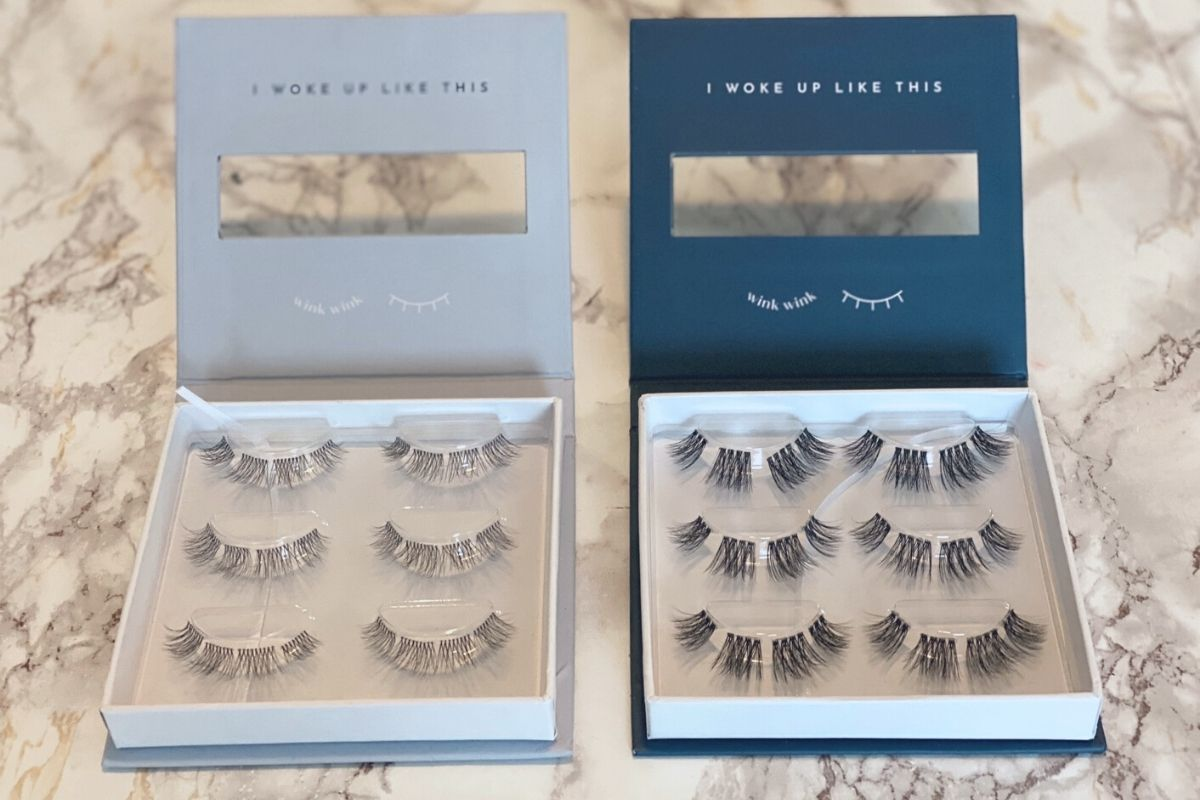 Two open boxes of faux mink eyelashes