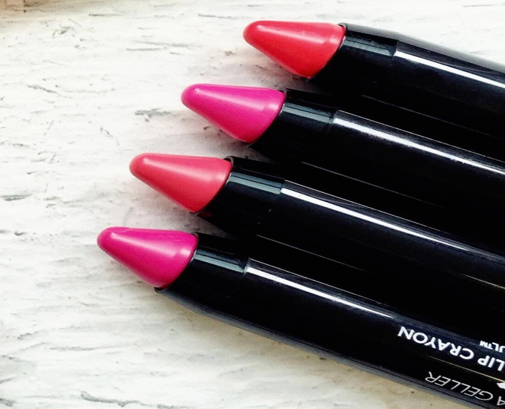 four shades of pink Laura Geller lip crayons