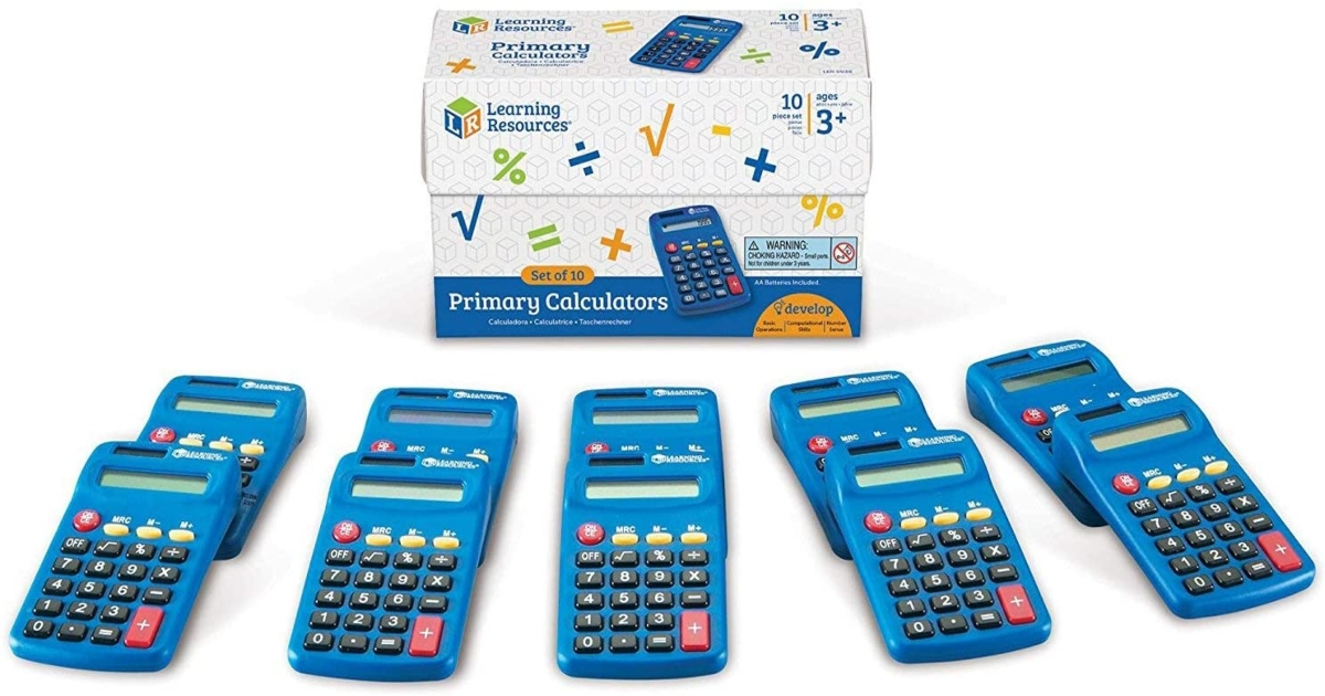 ten blue calculators lined up in front of the blue and white box they come in