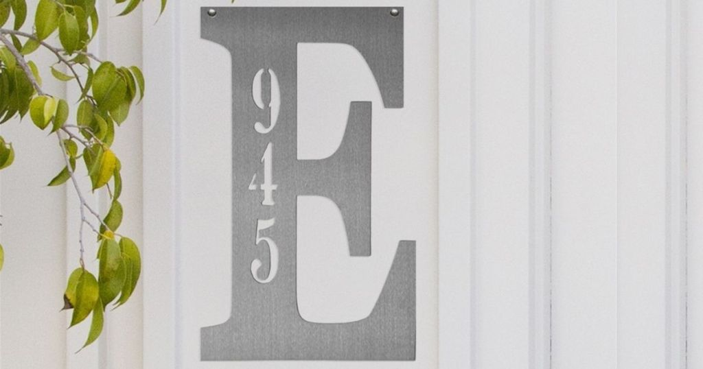 metal letter E with 945 on it