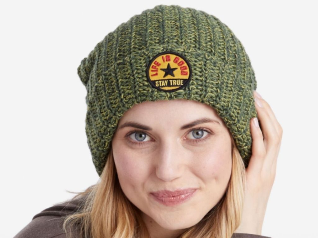 olive green life is good beanie