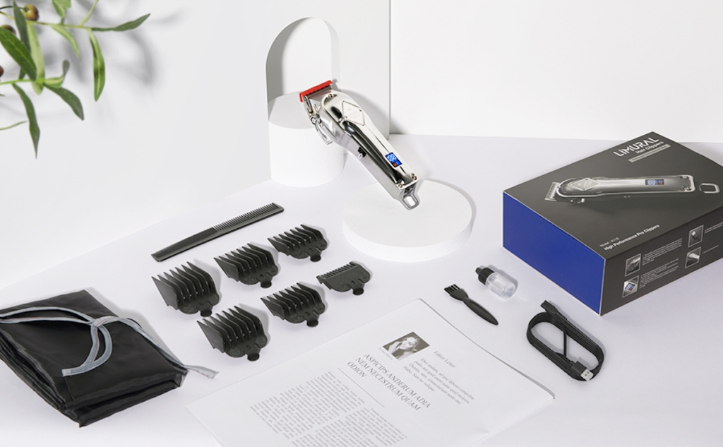Limural Hair Clippers Set with each item spread out on white counter