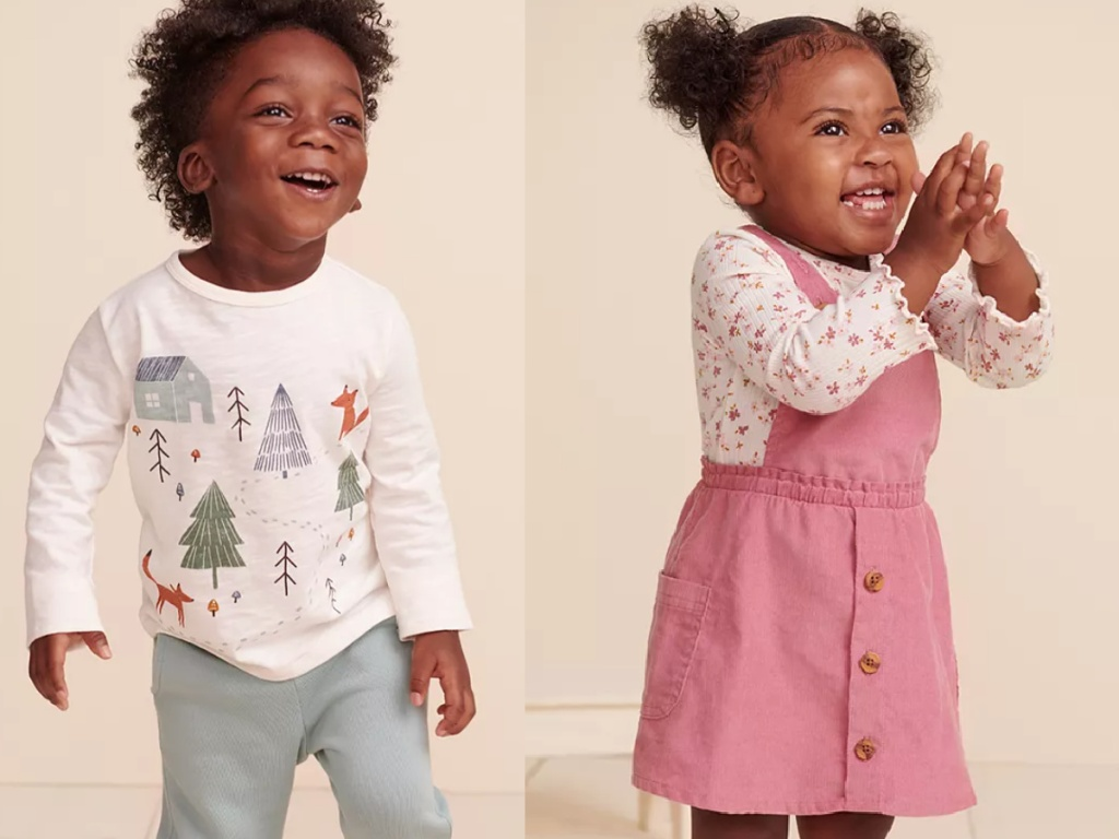 little boy wearing a cream colored tee and a little girl wearing a pink corduroy jumper dress