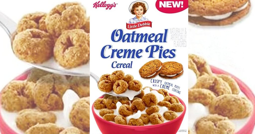 Little Debbie Oatmeal Creme Pies Cereal box with bowl of cereal and spoon in background