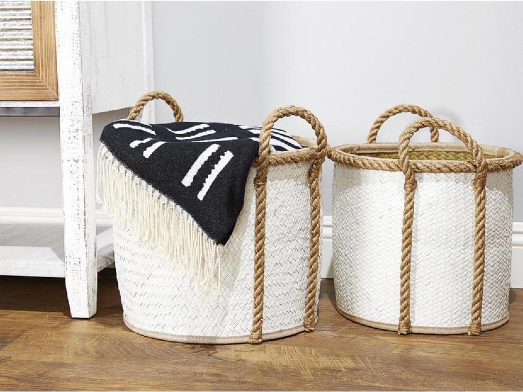 white wicker baskets on wood floor